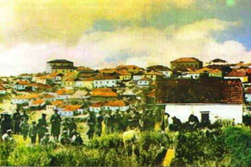 ציור עתיק: חסידי ברסלב משתטחים על קברו של רבי נחמן, לפני השואה