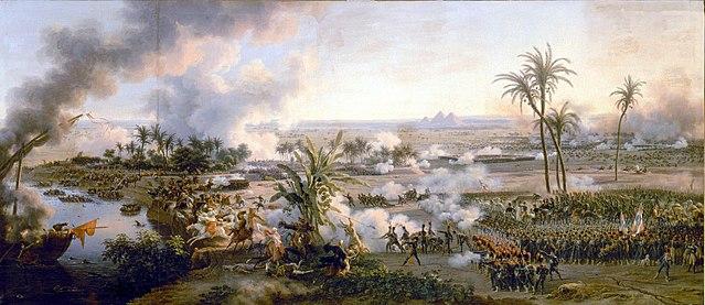 """ציור """"הקרב על הפירמידות"""" ממלחמות נפוליאון"""